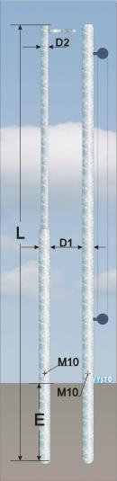 Vlajkové stožáry lankové, s hrazdou VLH, VLK